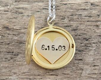 Wedding Date Locket Necklace, Gold Custom Date Necklace