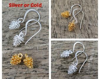 Pinecone Earrings, Pine Cone Earrings, Gold Pinecone, Silver Pinecone, Wedding Jewelry, Bridesmaid Earrings, Winter Wedding