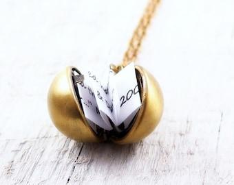 Secret Message Necklace, Vintage Ball Locket Necklace, Locket Pendant, Bridesmaid Gifts, Proposal Gift, Graduation Gift