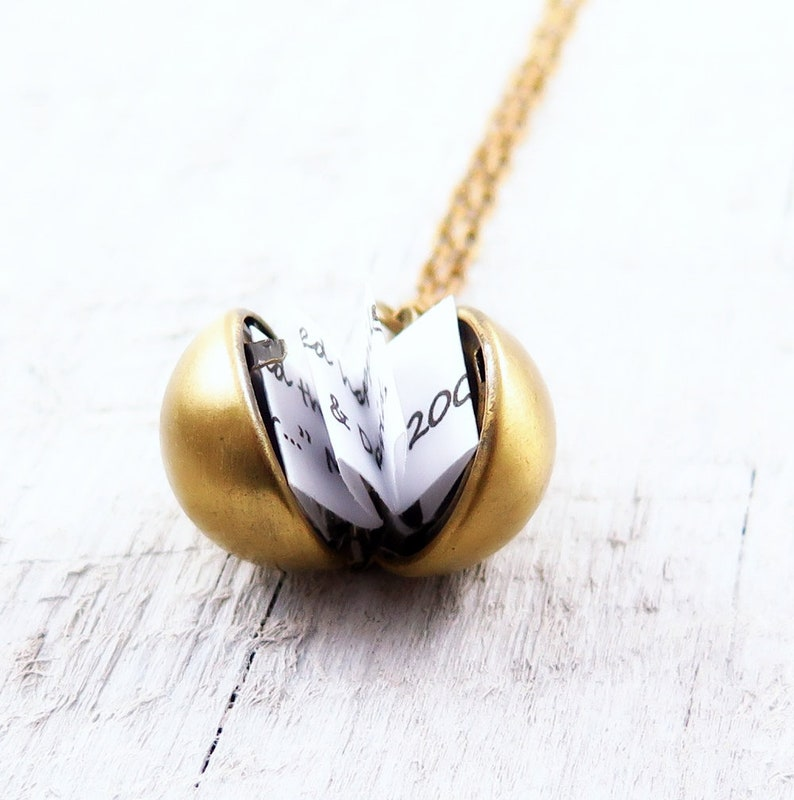 Secret Message Necklace Ball Locket Necklace Locket Pendant image 0