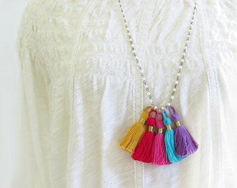 Colorful Tassel Necklace, Beaded Tassel Necklace, Tassel Necklace, Long Necklace