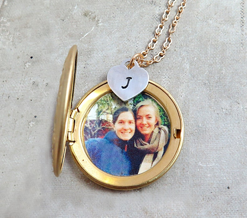 Photo Locket Necklace Personalized Locket Jewelry Initial image 0