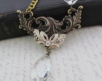 Vintage Rhinestone Necklace Statement Necklace Rhinestone Bow Necklace Upcycled Crystal Jewelry Bride Necklace