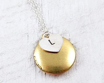 Brass Round Locket Necklace with Sterling Silver Heart Initial