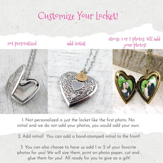 Floral Necklace Gift For her Silver Locket Necklace Valentines Gift Bridesmaids Gift Mothers Gift Silver Heart Locket Necklace