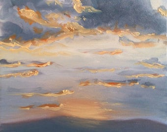 ORIGINAL OIL PAINTING Sunset Painting #1 Oil on Panel Signed by Linda Merchant Sun Clouds Mountains Fine Art Miniature Small Painting
