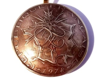 France Jewelry 10 Francs Coin Pendant Map Copper and Gold Color 1974-1987 France Necklace French Coin Birthday Gift for Her