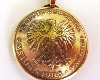 Poland Eagle Coin Jewelry,Domed Coin Pendant,Polish Eagle Coin Necklace,World Coin Jewelry,Foreign Coin Made in Poland Eagle 1975-1988