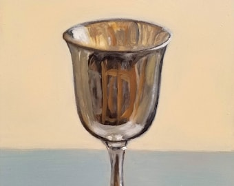 ORIGINAL OIL PAINTING Silver Chalice 6x8 Signed by Linda Merchant Pearce Fine Art Miniature Still Life Small Painting