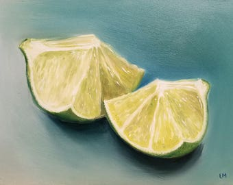 ORIGINAL OIL PAINTING Fine Art Limes 6x8 Linda Merchant Daily Painting Alla Prima Small Painting Miniature Still Life Citrus Fruit