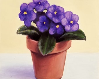 ORIGINAL OIL PAINTING Violets - Fine Art 6x6 Linda Merchant Pearce Hand Painted Floral Flower Painting