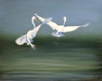 ORIGINAL OIL PAINTING Water Dance - Egrets 11x14 Linda Merchant Pearce Fine Art Hand Painted Bird Oil Painting Wildlife Bird ooak