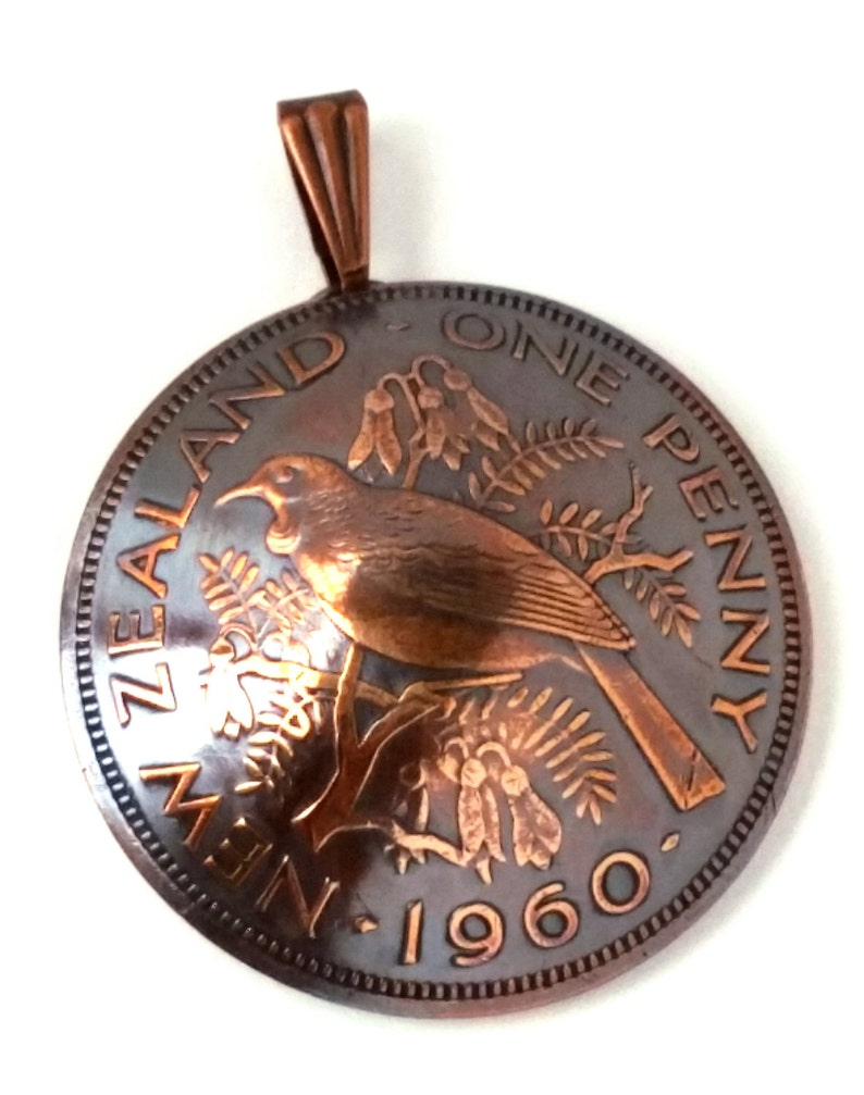 Beautiful Bird on a Branch Copper Coin Jewelry Pendant New image 1