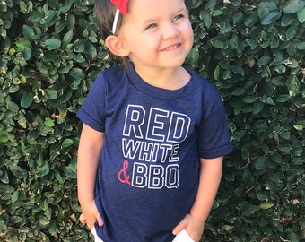 Red White and BBQ Kids Tee