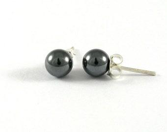 b08190233 Hematite Stud Earrings 6mm., Hematite with Silver Post Earrings, Hematite  Earrings, Classic Earrings, Stone Earrings