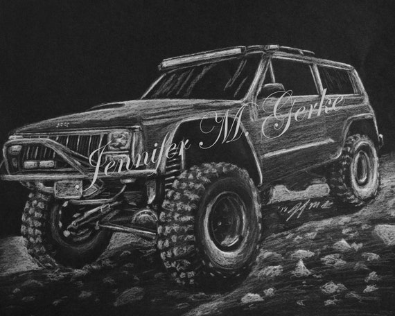Off-Road Rock Crawler Jeep Cherokee 4x4 Print by Jennifer M  Gerke