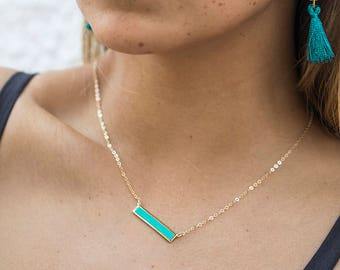 High Quality Turquoise Bar Necklace, Inlay Bar Stone Necklace, Crystal Pendant Bar, Gold Minimalist Necklace, Turquoise Necklace Bar Pendant