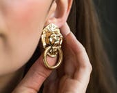 Pierced Vintage Gold Lion Earrings with Rhinestone Eyes, Door Knocker Large Vintage Animal Earrings in Gold Doorknocker, Avon KJL