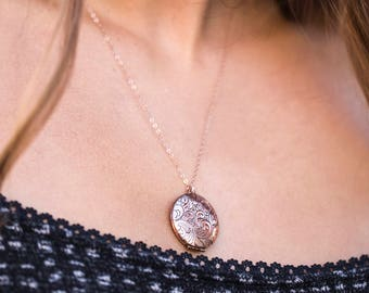Rose Gold Locket Necklaces, Picture Locket, Paisley Pink Flower Jewelry, Rose Gold Wedding Locket, Picture Memento Necklace, Pink Gold