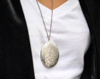 Antique silver photo picture locket pendant for necklaces large engraved vintage silver lockets magnetic locket for photos round lockets