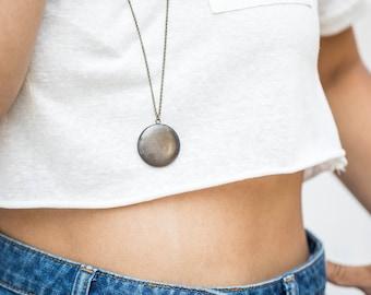 Dark Locket Vintage Necklace, Unisex Round Vintage Locket, Brass Man's Locket, Men's Necklace Pendant, Gift for Dad, Antique Brass Finish