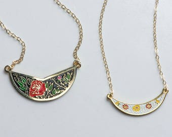 Vintage pendants etsy vintage collar red rose necklace summer jewelry small flower pendant layering rose jewelry cloisonn boho chic necklace aloadofball Images