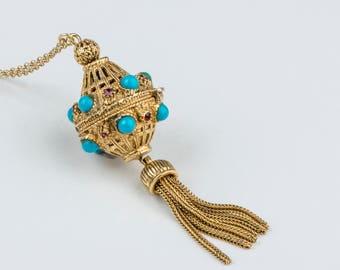Vintage Long Turquoise Blue Tassel Necklace, Long Tassle Pendant Necklace, Filigree Orb Locket, Ball Locket, Art Nouveau, Victorian Locket