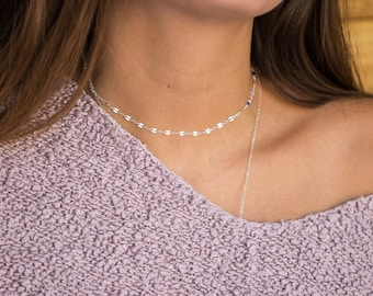 Dainty Choker Necklace in 14k Gold Filled or Silver, Choker Chain, Everyday Necklace, Simple Gold Chain Choker Adjustable, Layering Chain