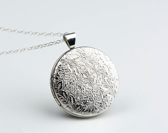Silver Locket Sterling Chain, Jewelry Gifts for Women, Gold Necklace Locket, Circle Lockets, Classic Style Jewelry, Layered and Long