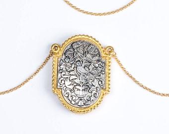 Oldtimer-Anweisung Halskette große Medaillon, Art Nouveau Parfüm Anhänger, Liebesgeschenk, Parfüm-Halskette, Anhänger, lange Kette