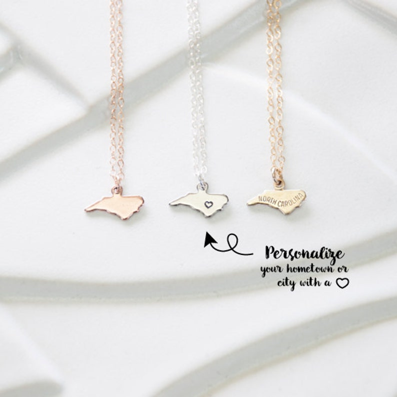 5dfe345da516f Tiny Rose Gold Necklace with North Carolina Pendant North