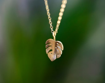 Small Necklace for Women, Miniature Gold Monstera Leaf Necklace, Tropical Pendant Gold Plant Jewelry, Tiny Charm Necklace