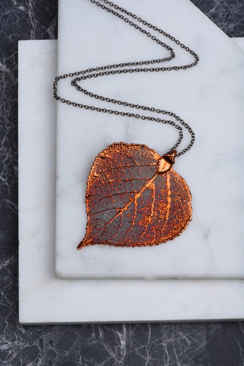 Pendant Heart Necklace Organic Leaf Necklace Long Copper Leaf Necklace Autumn Orange Jewelry Gift for Mothers Aspen Leaf Pendant Leaves