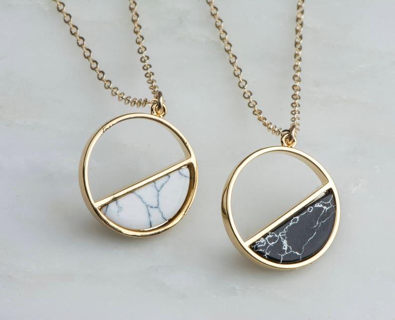 e9dc7a54d6df34 Gold Marble Moon Pendants Full Moon Half Moon Necklaces | Etsy