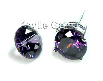 AAAAA Quality 10mm Round Cubic Zirconia CZ Diamond Brilliant Cut - Purple Amethyst- 2pcs