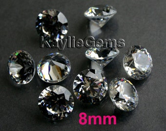 AAAAA 8mm Round Cubic Zirconia CZ Loose Stone Diamond Brilliant Cut - Diamond Clear