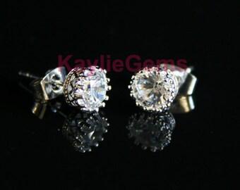 6mm Crown CZ Earrings Stud Cubic Zirconia - 1 Pair