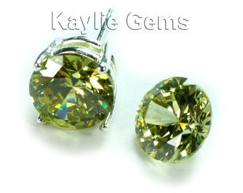 AAAAA Quality 10mm Round Cubic Zirconia CZ Diamond Brilliant Cut - Olivine- 2pcs