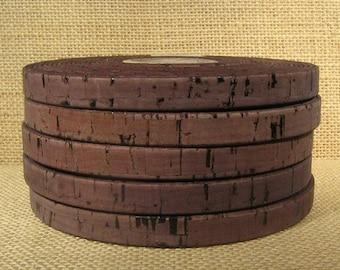 25% Off Portuguese Cork - 10mm Flat - Dark Brown - 10MF-C16 - Choose Your Length
