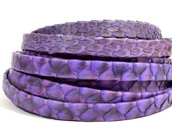 25% Off 10mm Genuine Python Skin - Purple - Choose Your Length