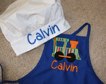 Train Boy Personalized Toddler Apron with Chef Hat
