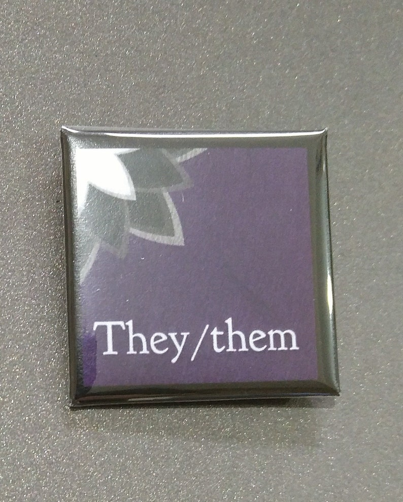 Limited Edition Art Pronoun Badges They/Them Zie/Hir She/Her image 0