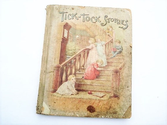 Tick-Tock Stories, Illustrated Book, Kids Book, Games, Sea Shore,  Educational Book, Kids Decor, Sister's Stories,Nursery Decor, Antique Book