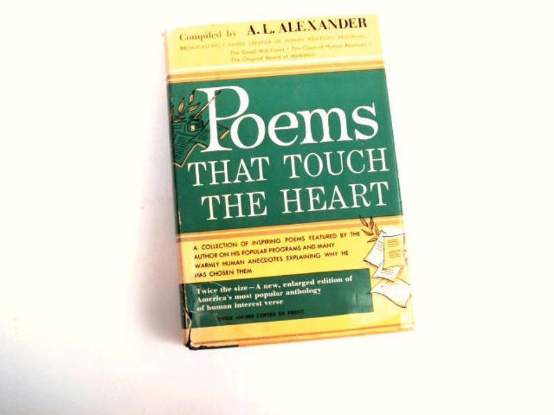 Poems That Touch The Heart Poetry Collection, 1963 Poetry Book Shakespeare,  Wordsworth, Poets, Holmes, Inspiring Poems