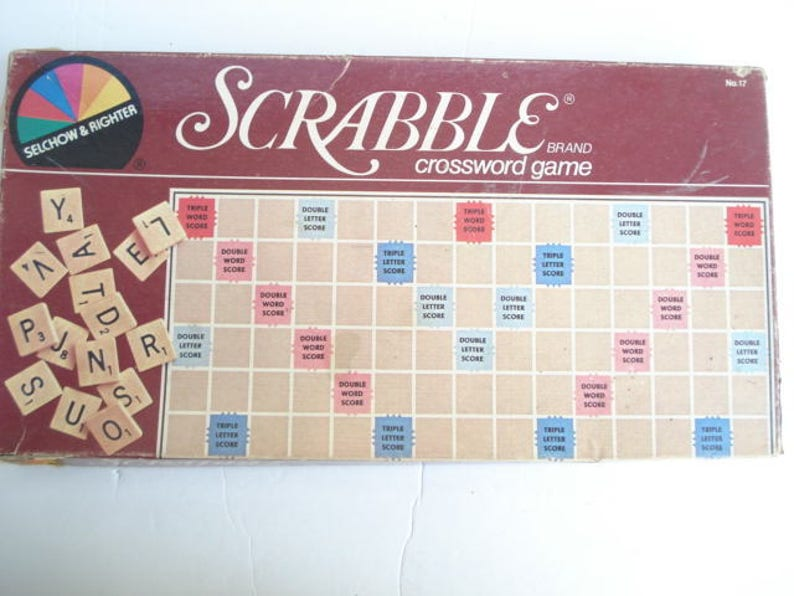 Scrabble Board Game, Vintage Scrabble, Word Game, Eduactional Games, Family  Game,Dictionary Game, Spelling Game, Crossword Game,Spelling