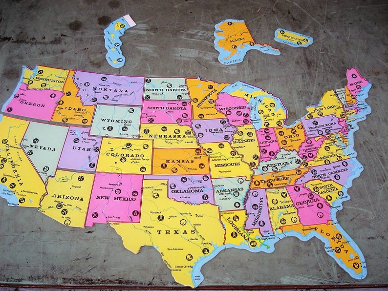 Vintage Map Jigsaw Puzzle Rand McNally Geography Puzzle Map Puzzle  Educational Puzzle States World Map United States Puzzle Game Map America