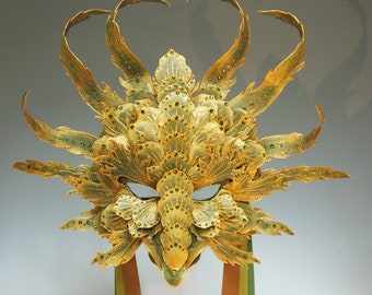 Green/Gold Dragon Mask - Available/Ready to Ship