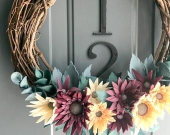 Grapevine Wreath Felt Handmade Door Wall Decoration - Harvest 12in