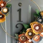 Felt Flower Wreath / Brass Hoop / Floral Wreath / Farmhouse / Modern / Handmade / Decoration : Leather 12in