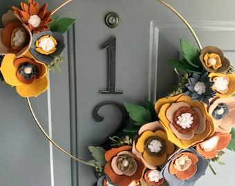 Felt Brass Hoop Floral Wreath Handmade Door Wall Decoration - Leather 12in